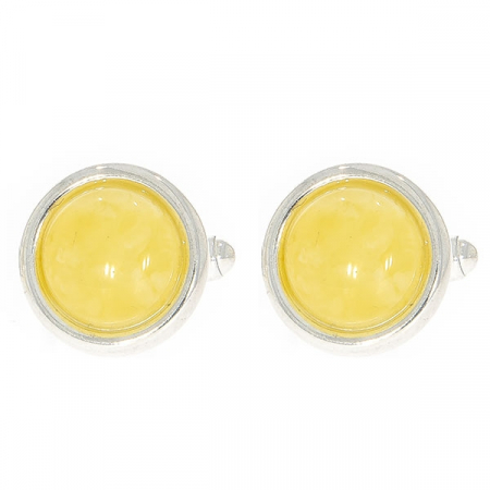 Butoni deosebiți din argint rotunzi cu chihlimbar galben natural [1]