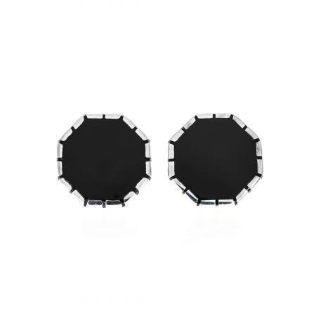 Butoni din argint 925 octogonali cu email negru [1]