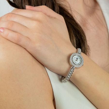 Ceas din argint rodiat cu zirconii stralucitoare [1]
