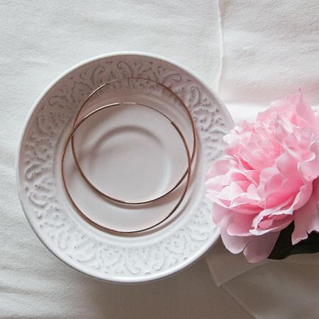 Cercei cercuri subțiri mari din argint placat cu aur rose [2]