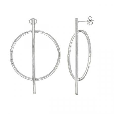 Cercei moderni din argint cu tijă și cerc [3]