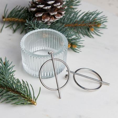 Cercei moderni din argint cu tijă și cerc [2]