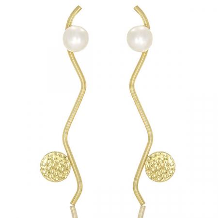 Cercei eleganți din argint placat cu aur, lungi cu perle [0]