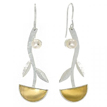 Cercei lungi din argint satinat cu porțiuni aurite și perle de cultură [2]