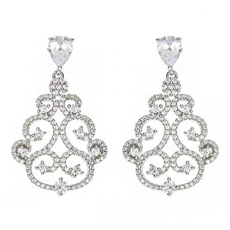 Cercei deosebiți eleganți din argint rodiat cu zirconii [0]