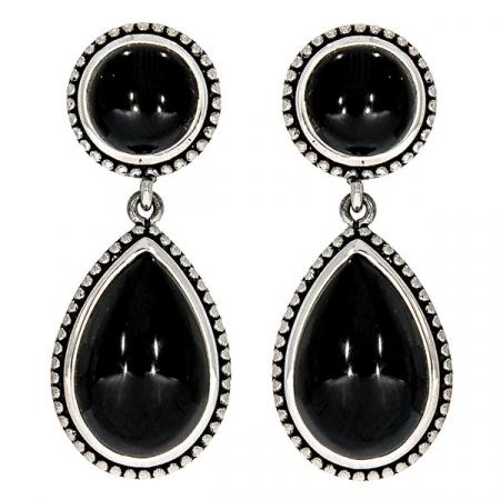 Cercei lacrimă din argint antichizat cu pietre de agat negru [0]