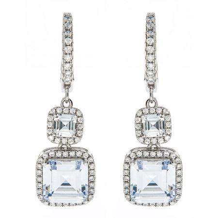 Cercei eleganți din argint rodiat, cu pietre strălucitoare de cubic zirconia [0]