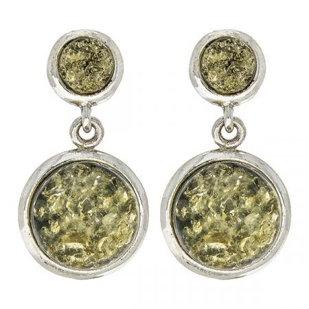 Cercei deosebiți din argint cu pietre naturale de chihlimbar verde [1]