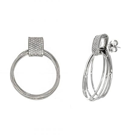 Cercei din argint cu cercuri și zirconii [3]