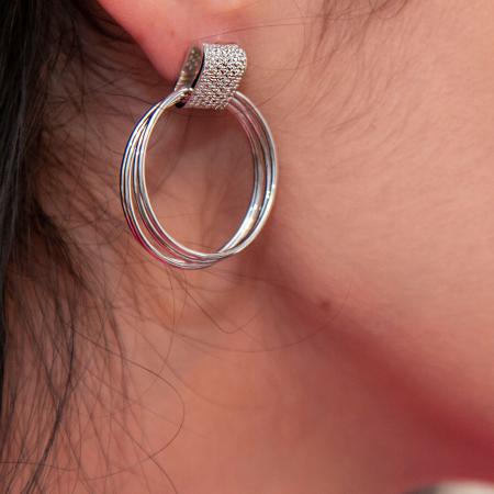 Cercei din argint cu cercuri și zirconii [2]