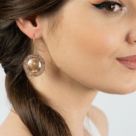 Cercei moderni eleganți din argint placat cu aur rose [1]