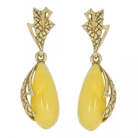 Cercei lungi eleganți din argint placat cu aur și chihlimbar galben natural [0]
