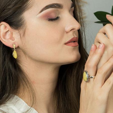 Cercei lungi eleganți din argint placat cu aur și chihlimbar galben natural [2]