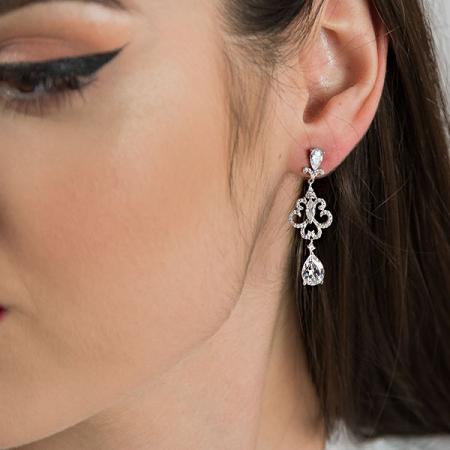 Cercei eleganți din argint rodiat cu cristale strălucitoare [1]