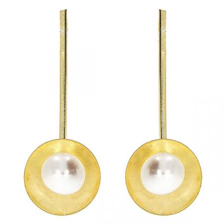 Cercei lungi din argint placat cu aur și perle [3]