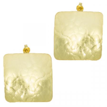 Cercei argint pe lob, model pătrat cu aspect satinat, placați cu aur [2]