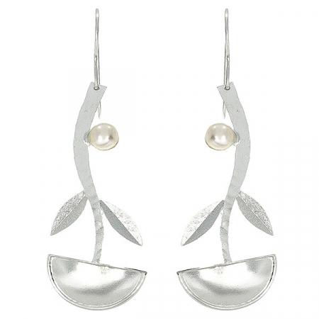 Cercei lungi eleganți din argint satinat mat cu perle de cultură [0]