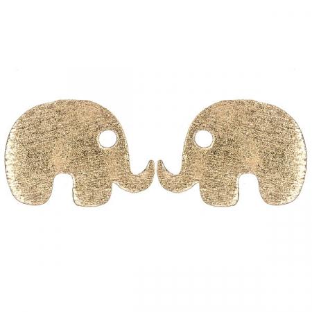 Cercei pe lob din argint aurit rose model elefanți [0]