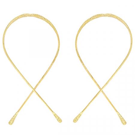 Cercei statement din argint placat cu aur model buclă [0]