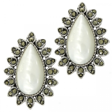 cercei-argint-antichizat-lacrima-pe-lob-sidef-marcasite-janette [0]