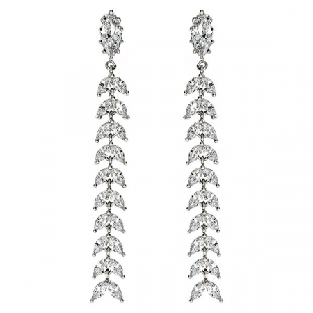 Cercei lungi eleganți din argint rodiat cu cristale de zirconiu [0]