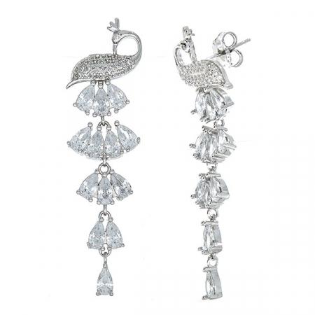 Cercei lungi argint rodiat cu păunițe și cristale strălucitoare [1]