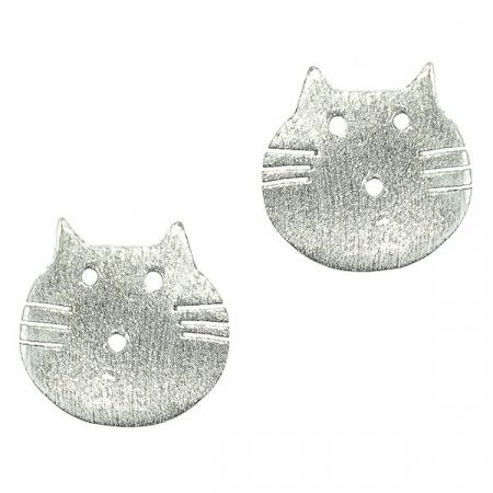 Cercei argint pe lob cu cap de pisică [0]