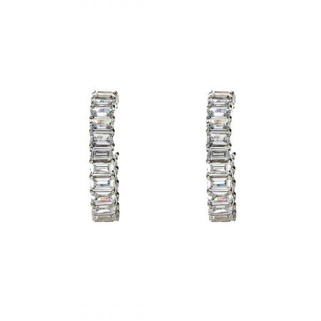 Cercei semirotunzi din argint 925 rodiat decorați cu zirconii [0]