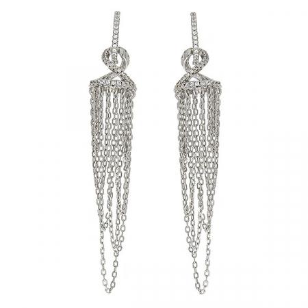 Cercei argint eleganți, lungi cu lănțișoare și cristale de zirconiu [1]