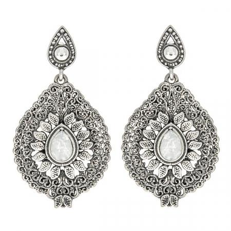 Cercei argint antichizat cu motive florale și piatra lunii [0]