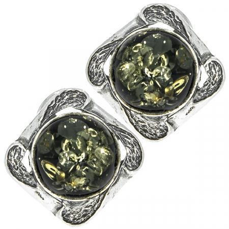 Cercei argint antichizat cu chihlimbar baltic verde [0]