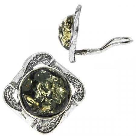 Cercei argint antichizat cu chihlimbar baltic verde [2]