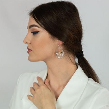 Cercei rotunzi din argint satinat cu perle [3]