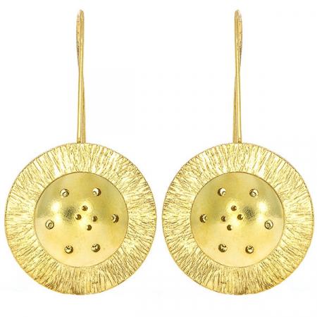 Cercei deosebiți din argint placat cu aur cu aspect satinat, lungi cu bănuț [1]