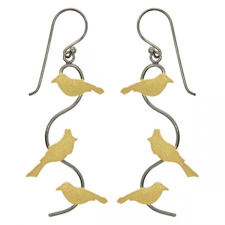Cercei lungi din argint cu păsări placate cu aur și tijă rodiată cu negru [0]