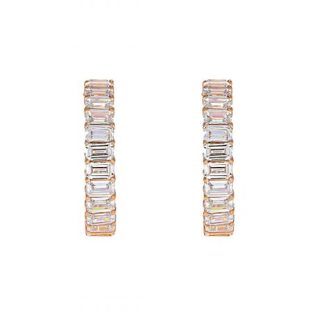 Cercei semirotunzi din argint placat cu aur rose și decorați cu zirconii [0]