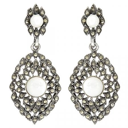 Cercei eleganți din argint antichizat, lungi cu cristale de marcasită și sidef [0]