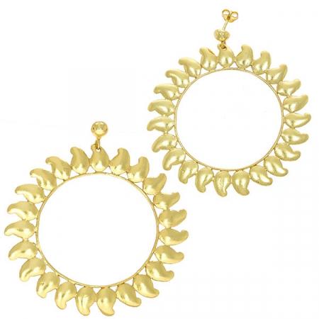 Cercei supradimensionați din argint placat cu aur cu aspect satinat [3]
