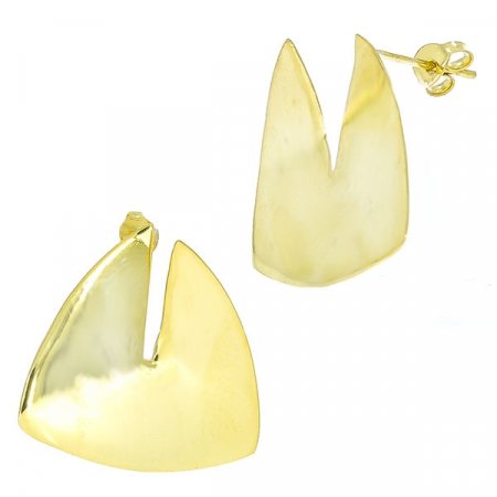 Cercei argint placat cu aur pe lob, model triunghiular [2]