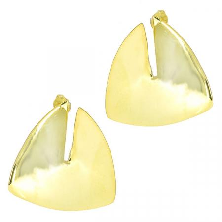 Cercei argint placat cu aur pe lob, model triunghiular [0]