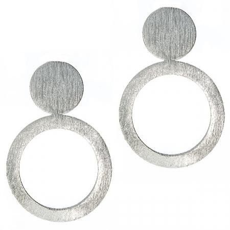 Cercei moderni din argint satinat mat cu prindere pe lob, formă rotundă [2]