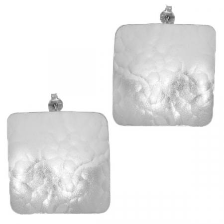 Cercei argint satinat mat pătrați pe lob [0]