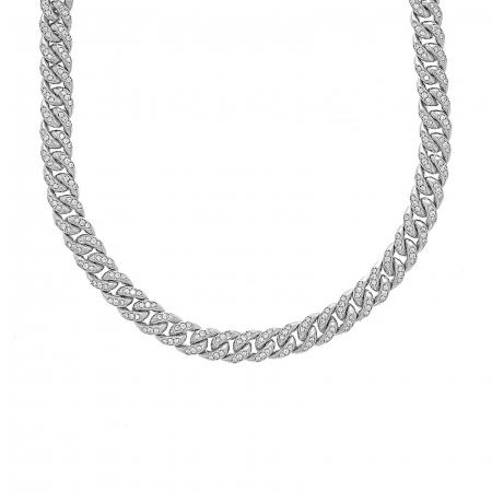 Colier argint rodiat cu zale împletite și zirconii [0]