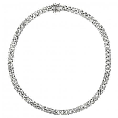 Colier argint rodiat cu zale împletite și zirconii [4]