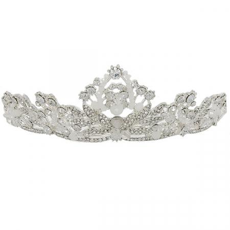 Diademă deosebită argintie cu cristale strălucitoare și pietre albe mate [0]