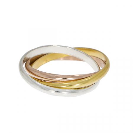 Inel cu verigi intercalate din argint, argint placat cu aur și aur rose [0]