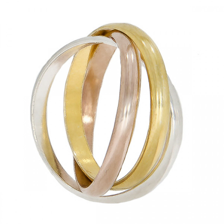 Inel cu verigi intercalate din argint, argint placat cu aur și aur rose [2]