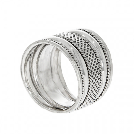 Inel stil verighetă din argint antichizat lat [4]