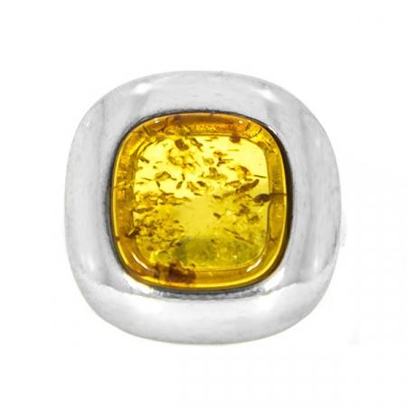 Inel pătrat din argint cu piatră de chihlimbar [1]