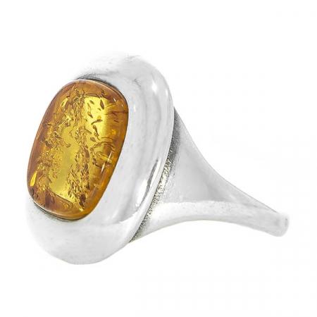 Inel pătrat din argint cu piatră de chihlimbar [3]